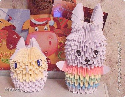 Оригами модульное: Заяц Веня и совенок Фифи