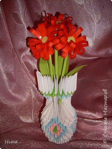 Оригами модульное: Ваза с цветами