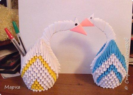 Оригами модульное: Лебеди, как подставки для ручек :-)