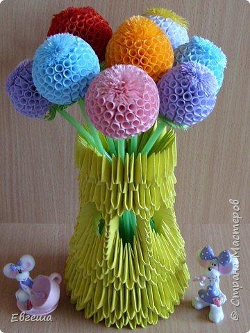 """Квиллинг, Оригами модульное: Ваза с цветами """"А просто так...."""" фото 1"""