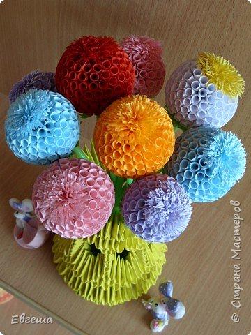 """Квиллинг, Оригами модульное: Ваза с цветами """"А просто так...."""" фото 2"""