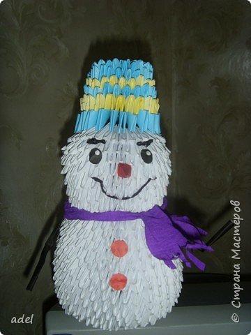 Оригами модульное: Снеговик спешит на прогулку фото 2