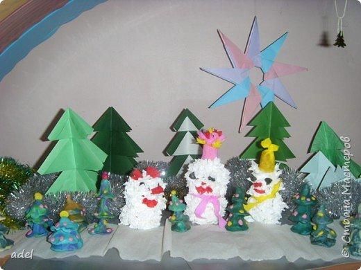 Оригами, Торцевание: Снеговики в еловом лесу фото 1