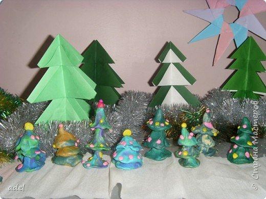 Оригами, Торцевание: Снеговики в еловом лесу фото 2