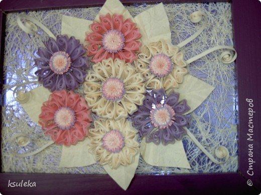 Квиллинг: Цветы и бабочка фото 2
