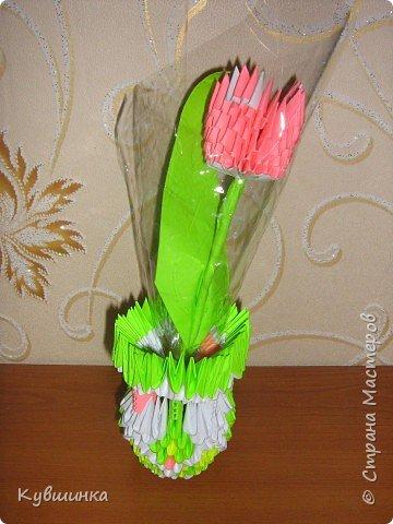 Оригами модульное: Ваза с цветами.