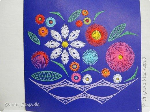 Изонить: Ваза с цветами
