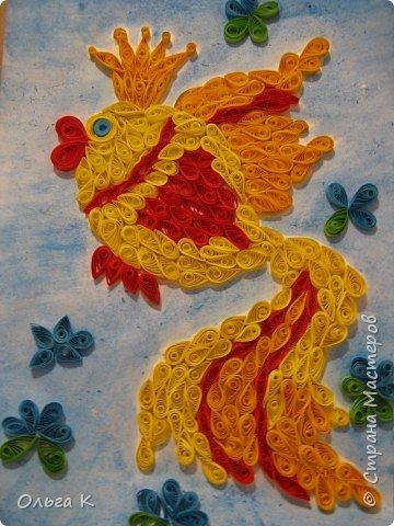 Квиллинг: Мой первый квиллинг Золотая рыбка фото 4