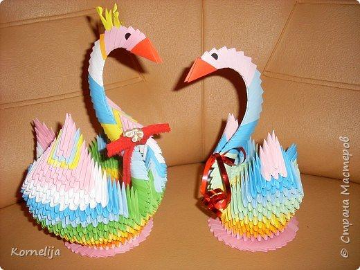 Оригами модульное: Moji pervije lebedi