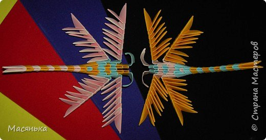 Оригами модульное: Лебедь и стрекозы фото 3