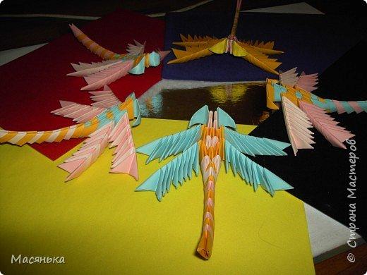 Оригами модульное: Лебедь и стрекозы фото 5