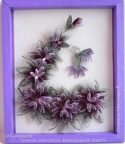 Квиллинг: Эксцентричные рулоны: колибри в цветах фото 1