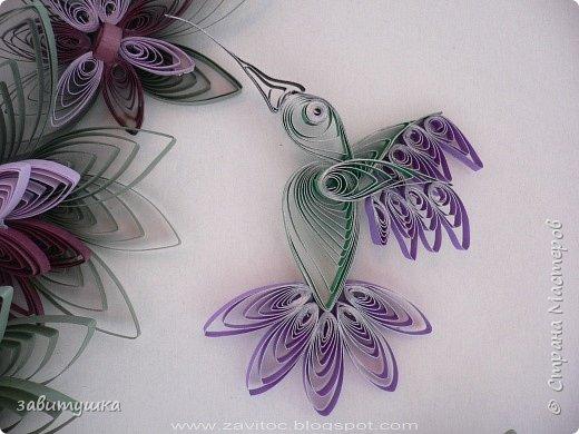 Квиллинг: Эксцентричные рулоны: колибри в цветах фото 3