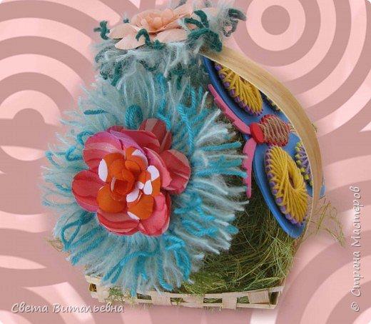 Изонить, Плетение: корзинка с цветами фото 3