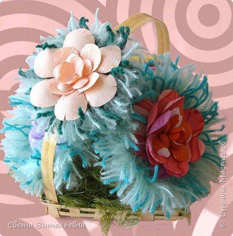 Изонить, Плетение: корзинка с цветами фото 2