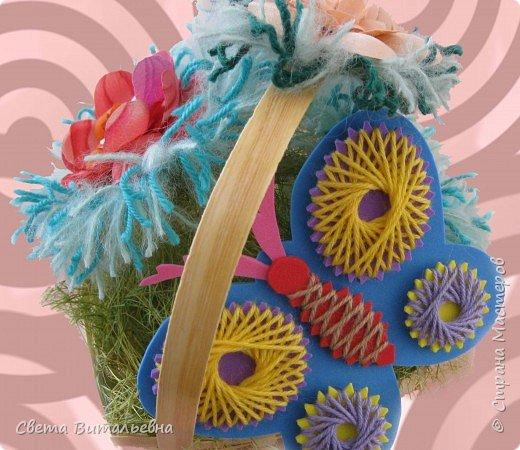 Изонить, Плетение: корзинка с цветами фото 1