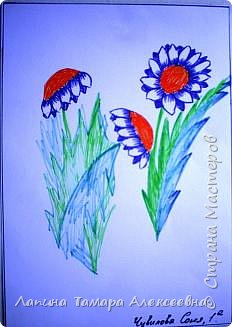 Цветы фломастерами  фото 4