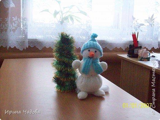 Вязание спицами: Снеговичок