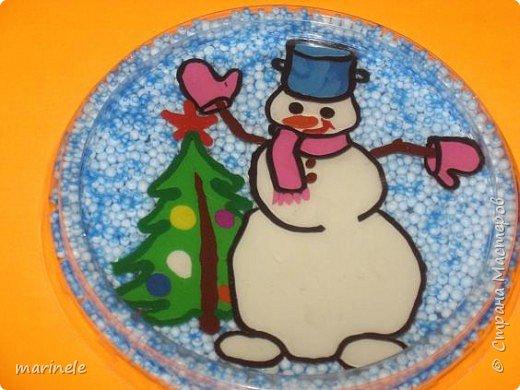 Аппликация из пластилина (+ обратная): Снеговик