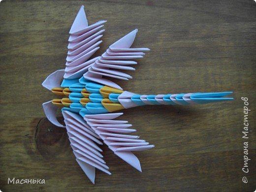 Оригами модульное: Лебедь и стрекозы фото 2