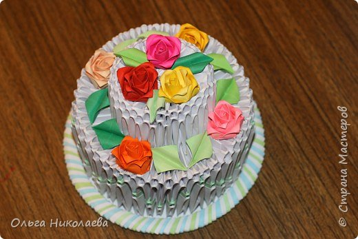 Оригами модульное: Торт в подарок!