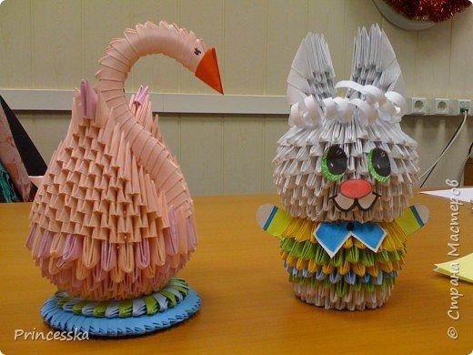 Оригами модульное: Лебедь и зайка и другие фото 1
