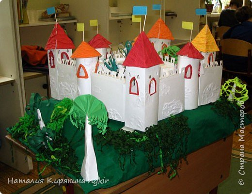 """Бумагопластика: Художественное конструирование из бумаги. Коллективная работа """"Средневековый замок"""" 4 класс. фото 4"""
