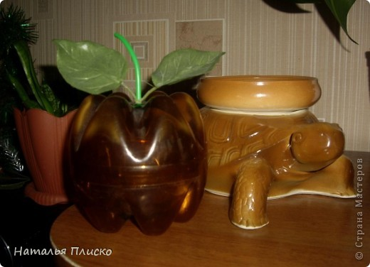 Яблоко (два донышка от пластиковых бутылок, палочка от чупа-чупса и искусственные листочки) фото 1