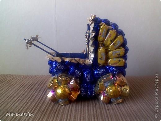 """Такую коляску сделала на заказ в подарок к рождению ребёнка. Очень """"удобный подарок"""" :) В коляску можно положить деньги или другой подарок и букет уже не особо нужен :) фото 1"""