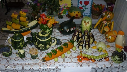 Поделка изделие День учителя Карвинг Поделки из овощей Овощи фрукты ягоды фото 1