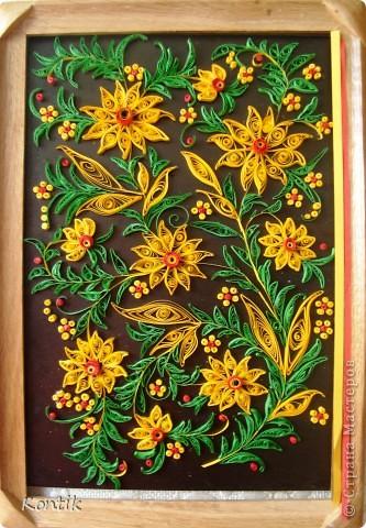 Картина панно рисунок квиллинг желтые