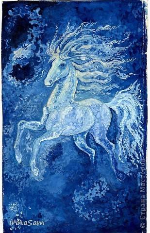 Когда-то в старших классах школы я очень любила рисовать и рисовала все подряд, ну, конечно, любила срисовывать с понравившихся картинок, где-то с открытки, где-то с иллюстрации книги. Нашла вот свои картинки и решила их определить на свою страничку.  Эта лошадка с открытки. Гуашь. фото 1