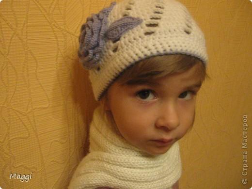 """Еще одна шапочка для моей средней доченьки. Связалаь оченьбыстро, так сказать """"на одном дыхании"""". фото 2"""