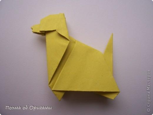 «По улицам Слона водили, как видно напоказ - Известно, что Слоны в диковинку у нас…». Несмотря на то, что басни Крылова, прочитаны еще в школе, они до сих пор вызывают улыбку. А вот оригами-слоны, уже давно не редкость даже на наших просторах. Их придумали видимо-невидимо. Но вот этот особенный. Его создал Фумиаки Кавахата из Японии. Эта модель невероятно простая, а из-за того, что складывается из двух частей, есть возможность сложить просто гигантское животное. Модель Моськи сочетает в себе элементы сразу нескольких фигурок, поэтому конкретного автора назвать сложно.    фото 28
