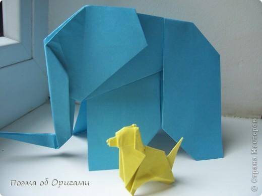 «По улицам Слона водили, как видно напоказ - Известно, что Слоны в диковинку у нас…». Несмотря на то, что басни Крылова, прочитаны еще в школе, они до сих пор вызывают улыбку. А вот оригами-слоны, уже давно не редкость даже на наших просторах. Их придумали видимо-невидимо. Но вот этот особенный. Его создал Фумиаки Кавахата из Японии. Эта модель невероятно простая, а из-за того, что складывается из двух частей, есть возможность сложить просто гигантское животное. Модель Моськи сочетает в себе элементы сразу нескольких фигурок, поэтому конкретного автора назвать сложно.    фото 29