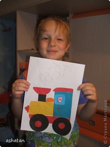 Поделки моего сыночка: Аппликация Паровоз фото 1