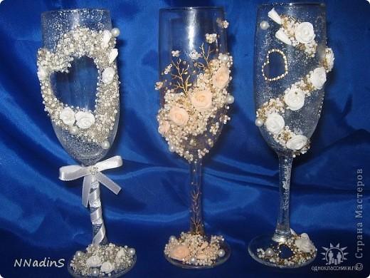 Увидела свадебные бокалы и теперь не могу остановиться,хочется  их украшать бесконечно!!!!!!!! фото 2