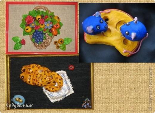 Начало)) самые первые работы из соленого теста Корзина с фруктами, синие мышки и леопардик фото 1