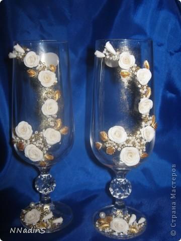 Увидела свадебные бокалы и теперь не могу остановиться,хочется  их украшать бесконечно!!!!!!!! фото 1
