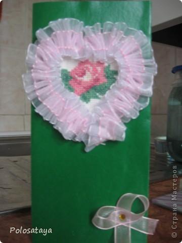 Открытка для любимой бабушке, вышивка на канве и украшение лентами. фото 1