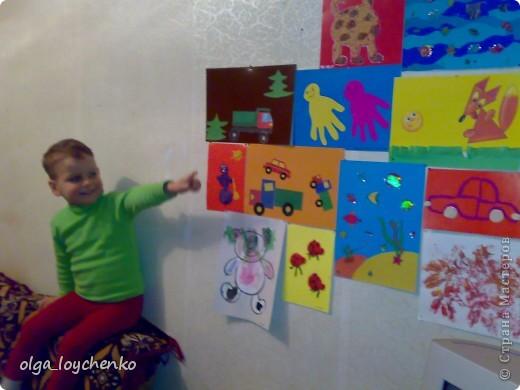 """Моему сыночку Матвейке 3 г и 8 мес, вот так мы пытаемся разнообразить наш досуг  Такой мы увидели осень...Ствол дерева вырезала я, Матвей все наклеивал и """"заготовил"""" листики фото 11"""