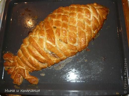 Первый опыт. Рыбка по рецепту Калашниковой Виктории (http://stranamasterov.ru/node/93245). Очень вкусно, только плести до конца у меня не очень получилось. фото 2