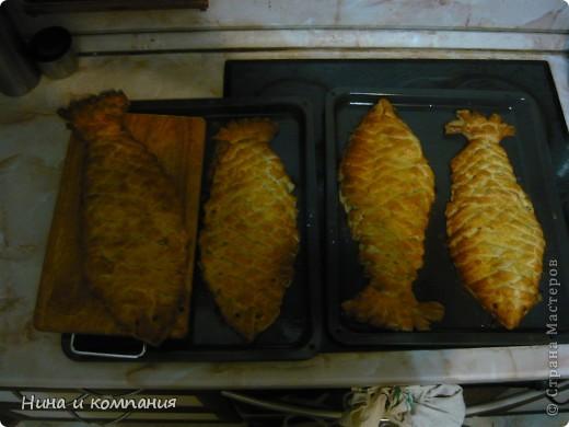Первый опыт. Рыбка по рецепту Калашниковой Виктории (http://stranamasterov.ru/node/93245). Очень вкусно, только плести до конца у меня не очень получилось. фото 4
