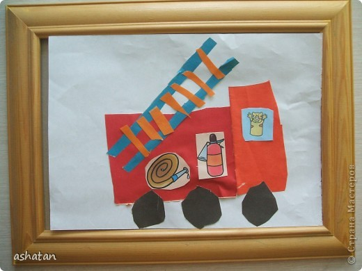 Поделка изделие Поделки для мальчиков Чрезвычайная ситуация Аппликация Рисование и живопись Поделки моего сыночка Пожарная тематика Бумага Карандаш фото 1