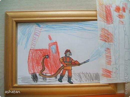 Пожарная машина - аппликация (полностью самостоятельная работа)   Выполнено 16.10.2010г.   Спасибо за идею бухтелка http://stranamasterov.ru/node/90338?c=favorite_903 фото 4