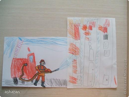 Поделка изделие Поделки для мальчиков Чрезвычайная ситуация Аппликация Рисование и живопись Поделки моего сыночка Пожарная тематика Бумага Карандаш фото 5