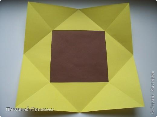 Подсолнухи как символ солнца и одновременно прощание с окончательно ушедшим от нас в этом году теплым летом. Этот чудесный оригами подсолнух придумала Нилва Пиллан (Италия). фото 4