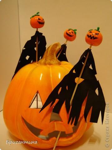 Я решила сделать к Хэллоуину маленькие сувениры для друзей!   Материалы: 1.Полимерная глина FIMO оранжевая и зеленая или цветное соленое тесто На заметку! Если делать из соленого теста, внутрь тыквы лучше положить шарик из фольги. 2.Краска акриловая черная 3.Лак прозрачный 4.Деревяные палочки для шашлычка 5.Супер-клей 6.Черная ткань  фото 18