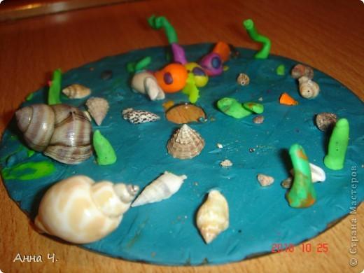 Взяли CD диск и покрыли его пластилином, а потом.... вобщем все что хотел Сашуля то и лепили на него: камушки, ракушки, водоросли и конечно же рыбок.   фото 1