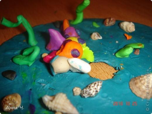 Взяли CD диск и покрыли его пластилином, а потом.... вобщем все что хотел Сашуля то и лепили на него: камушки, ракушки, водоросли и конечно же рыбок.   фото 3